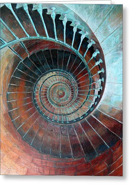 Spiral Staircase Mixed Media Greeting Cards - Feel Your Presence and Its Inherent Vibration Greeting Card by Elizabeth D
