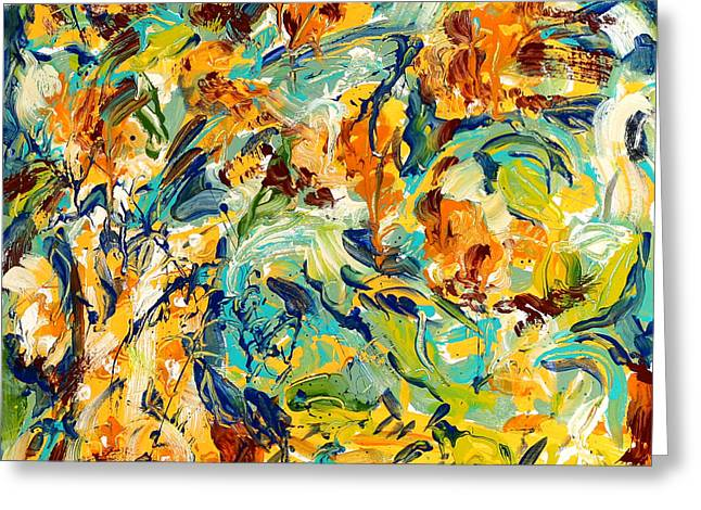 Abstract Vase Flower Print Greeting Cards - Feelin Fall Greeting Card by Carole Goldman