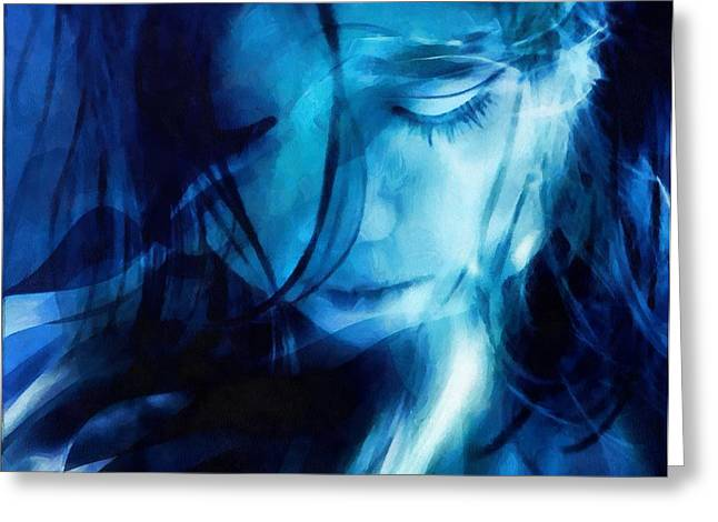 Woman Head Greeting Cards - Feeling a little blue Greeting Card by Gun Legler