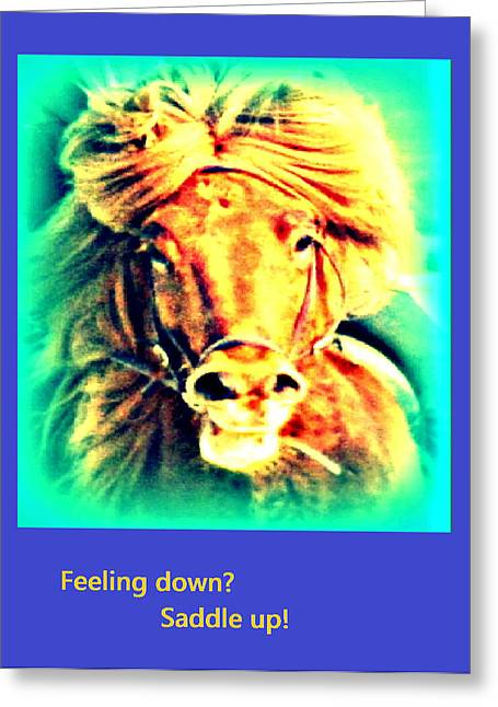 Despair Mixed Media Greeting Cards - Feeling down saddle up Greeting Card by Hilde Widerberg