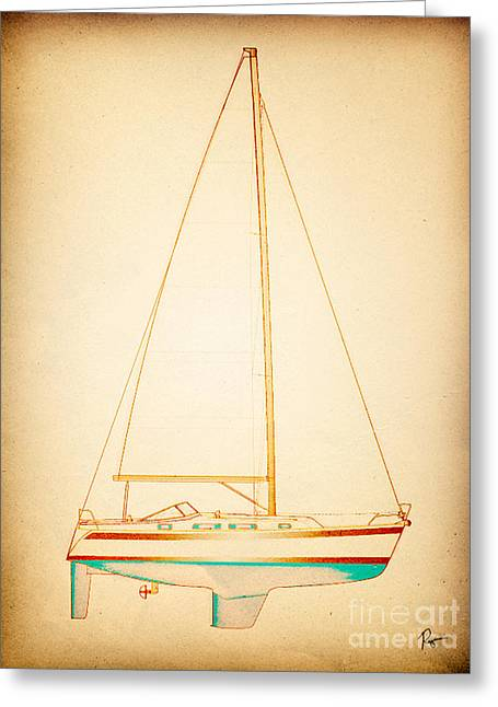 Blue Sailboats Drawings Greeting Cards - Feeling Eiry Greeting Card by Regina Marie Gallant