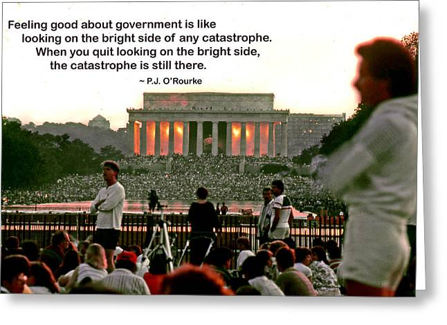 Corrupt Governments Greeting Cards - Feeling Good About Government Greeting Card by Mike Flynn