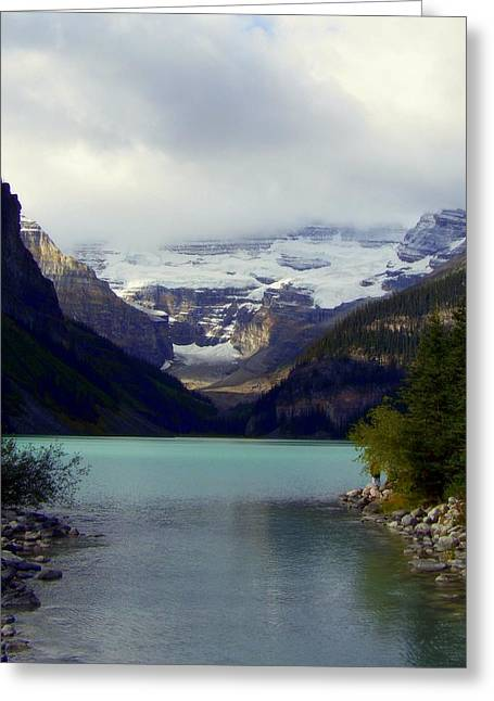 Snow Capped Greeting Cards - Feeling Him Near Greeting Card by Karen Wiles