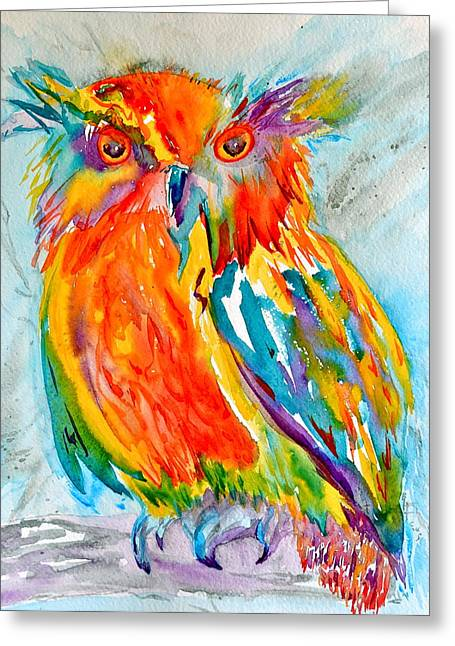 Bht Greeting Cards - Feeling Owlright Greeting Card by Beverley Harper Tinsley