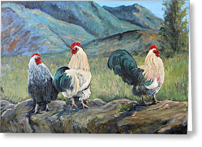 Feisty Fowls Greeting Card by Julie Townsend