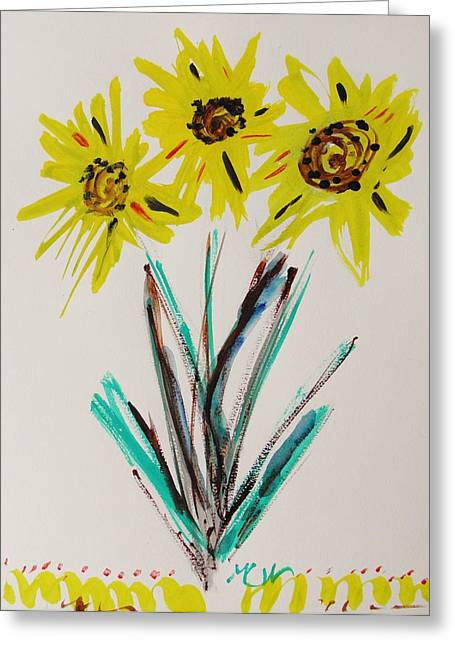 Feisty Greeting Cards - Feisty Sunflowers Greeting Card by Mary Carol Williams