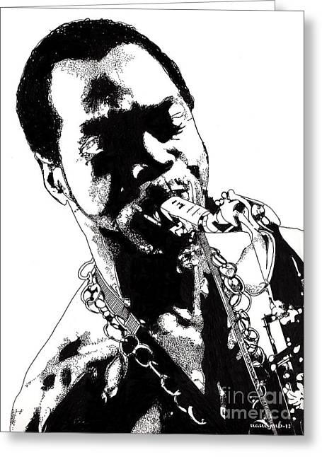 First Black President Greeting Cards - Fela Kuti Greeting Card by Nancy Mergybrower