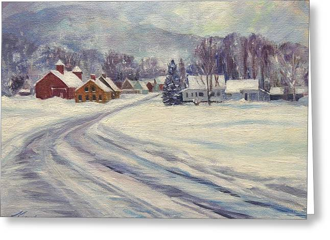 Felchville Village In The Snow Greeting Card by Nancy Griswold