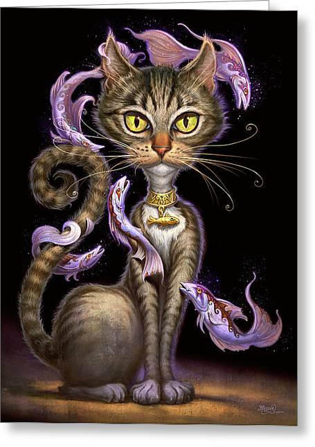 Black Cat Fantasy Greeting Cards - Feline Fantasy Greeting Card by Jeff Haynie