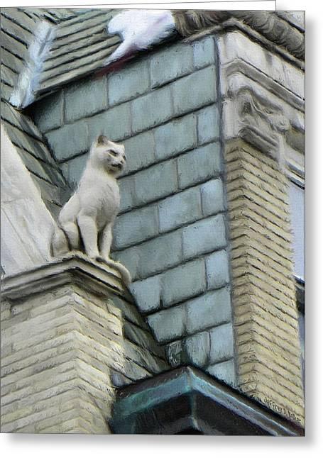 Felines Greeting Cards - Feline Sentry Greeting Card by Jeff Kolker