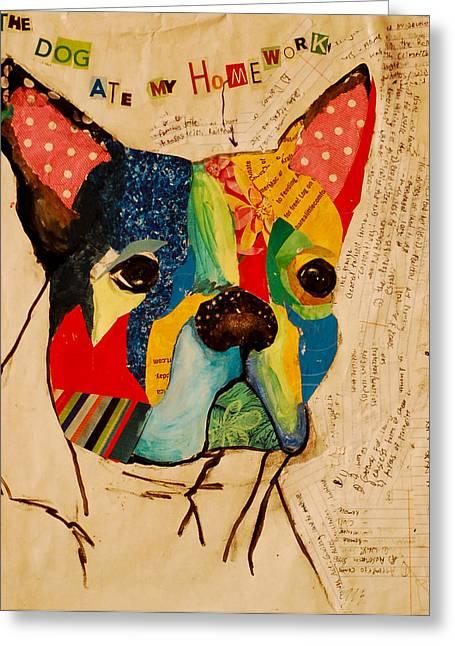 Homework Paintings Greeting Cards - Felix Greeting Card by Beth Watkins