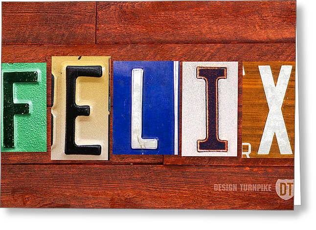Road Trip Greeting Cards - FELIX License Plate Name Sign Fun Kid Room Decor Greeting Card by Design Turnpike
