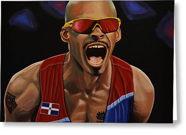 Famous Athletes Greeting Cards - Felix Sanchez Greeting Card by Paul  Meijering