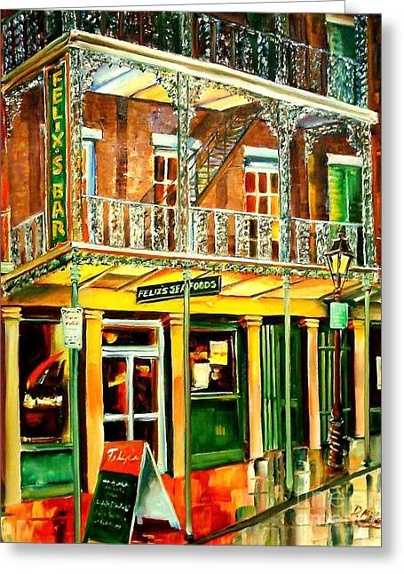 Bistro Paintings Greeting Cards - Felixs Oyster Bar Greeting Card by Diane Millsap