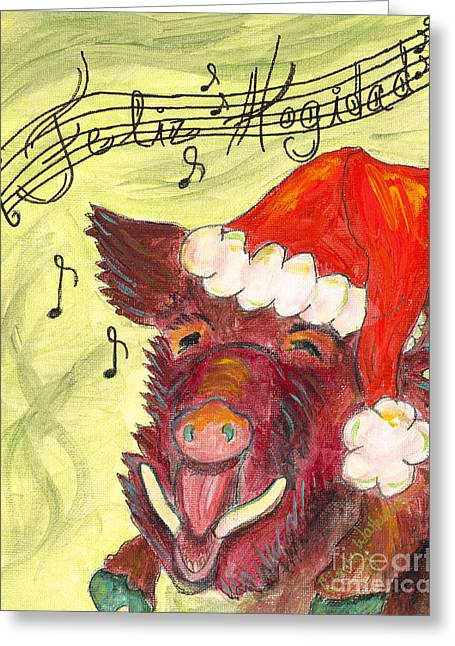 Happy Hog Greeting Cards - Feliz Hogidad Greeting Card by Cindy Watkins