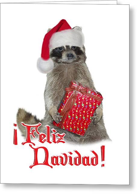 Feliz Greeting Cards - Feliz Navidad - Raccoon Greeting Card by Gravityx Designs