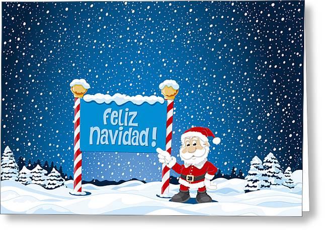 Cartoon Greeting Cards - Feliz Navidad Sign Santa Claus Winter Landscape Greeting Card by Frank Ramspott