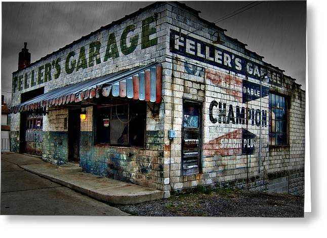 Recently Sold -  - Roadway Greeting Cards - Fellers Garage Greeting Card by Mark Dottle