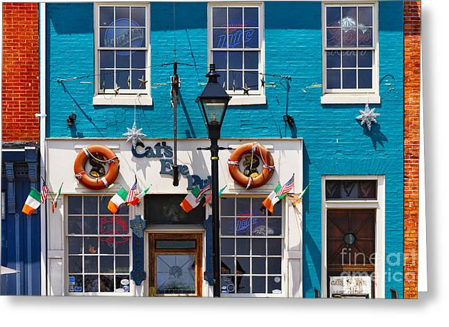 Brick Buildings Greeting Cards - Fells Point Impression Greeting Card by George Oze