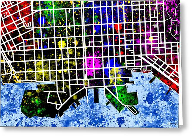 Fells Point Map Greeting Card by Stephen Younts