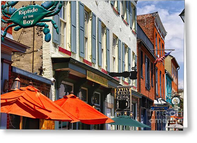 Brick Buildings Greeting Cards - Fells Point Signs Greeting Card by George Oze