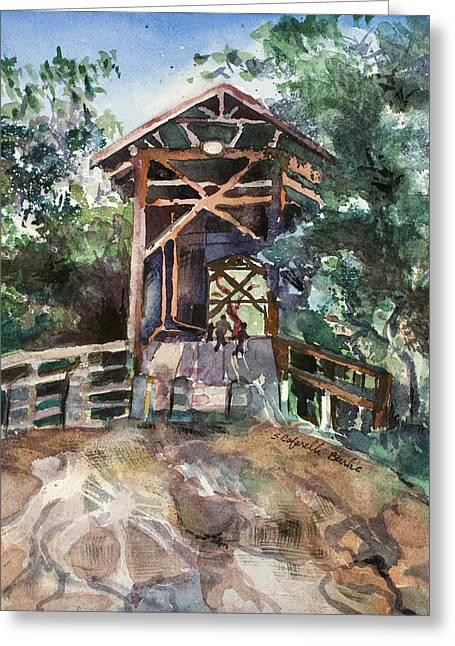 Felton Covered Bridge Greeting Card by Susan Cafarelli Burke