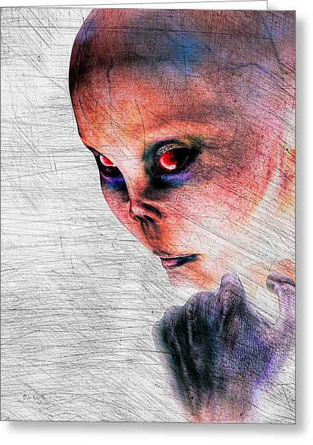 Are We Alone Greeting Cards - Female Alien Portrait Greeting Card by Bob Orsillo