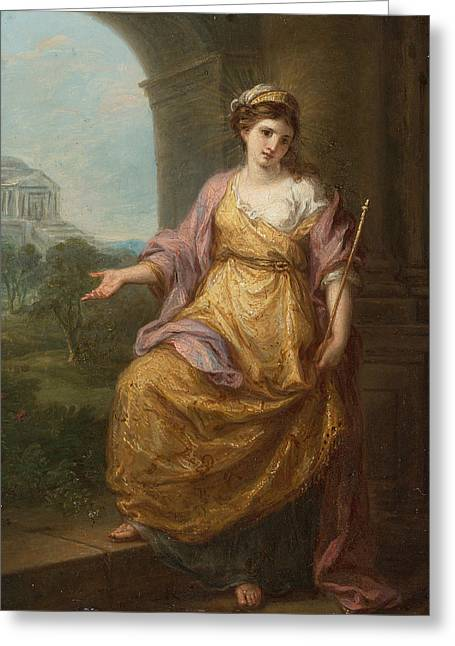 Angelica Greeting Cards - Female Allegory Greeting Card by Angelica Kauffmann