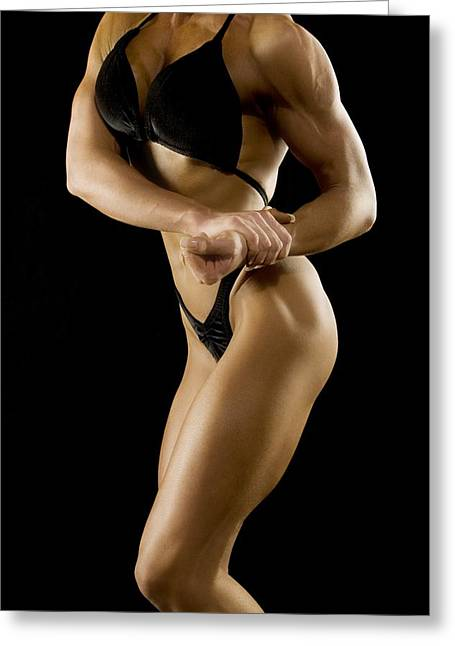 Physical Body Photographs Greeting Cards - Female Bodybuilder Greeting Card by Darren Greenwood