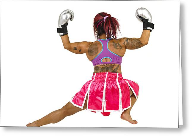 Women Only Greeting Cards - Female boxer flexes her muscles  Greeting Card by Ilan Rosen