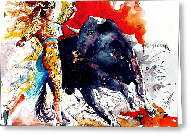 Eatoutdoors Greeting Cards - Female Bullfighter Greeting Card by Steven Ponsford