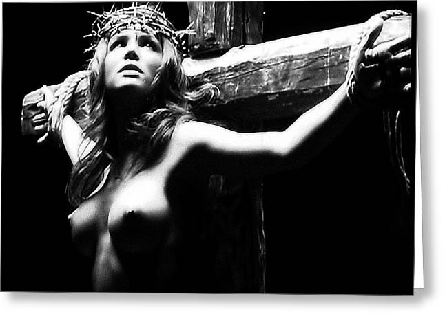 Mulher Greeting Cards - Female Christ Black and White Greeting Card by Ramon Martinez