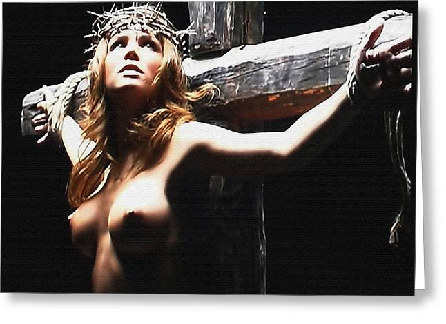 Female Christ Greeting Card by Ramon Martinez