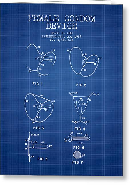 Intercourse Greeting Cards - Female Condom Device patent from 1989 - Blueprint Greeting Card by Aged Pixel