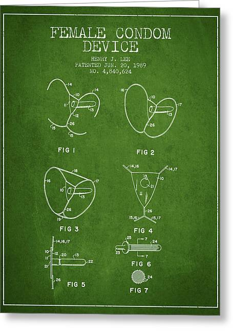 Intercourse Greeting Cards - Female Condom Device patent from 1989 - Green Greeting Card by Aged Pixel