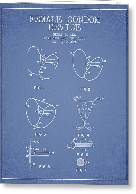 Intercourse Greeting Cards - Female Condom Device patent from 1989 - Light Blue Greeting Card by Aged Pixel