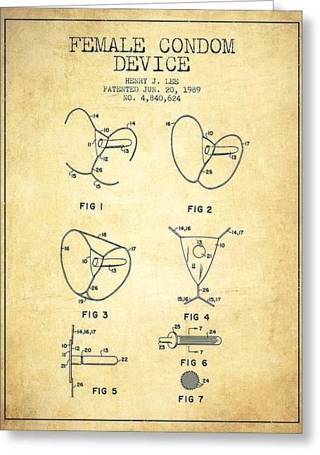 Intercourse Greeting Cards - Female Condom Device patent from 1989 - Vintage Greeting Card by Aged Pixel