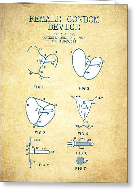Pregnancy Greeting Cards - Female Condom Device patent from 1989 - Vintage Paper Greeting Card by Aged Pixel