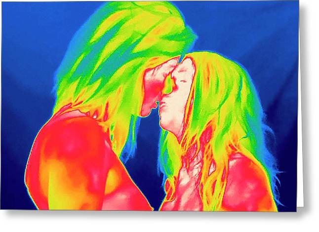 Female Couple Kissing Greeting Card by Thierry Berrod, Mona Lisa Production