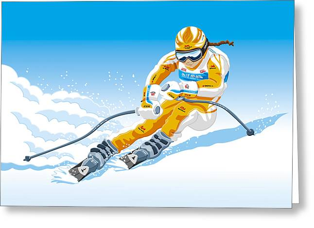 Female Downhill Skier Winter Sport Greeting Card by Frank Ramspott