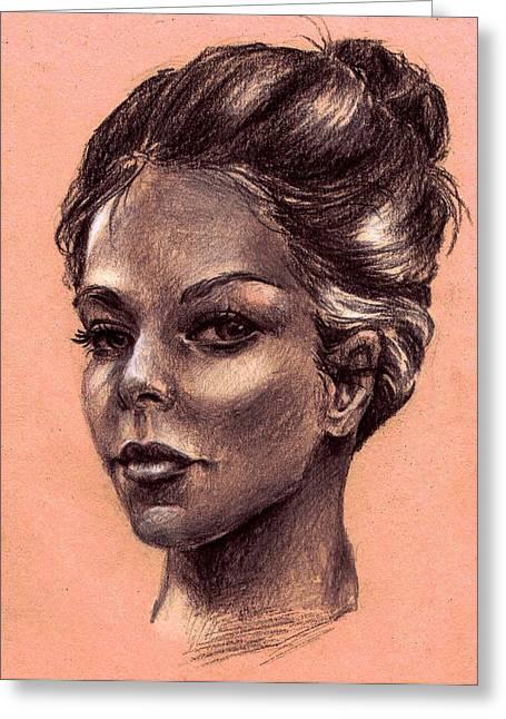 Femal Portrait Greeting Cards - Female Face Greeting Card by Dayi Tofu