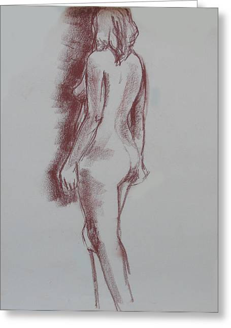 Conte Pencil Drawings Greeting Cards - Female Form Standing Nude Greeting Card by Anita Dale Livaditis