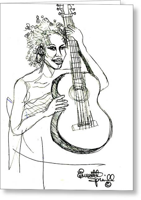 Famous African Americans Drawings Greeting Cards - Female Guitarist  Greeting Card by Everett Spruill