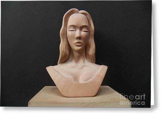 Female Sculptures Greeting Cards - Female Head Bust Greeting Card by Carlos Baez Barrueto