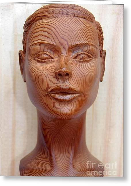 Female Sculptures Greeting Cards - Female Head Bust - Front View Greeting Card by Carlos Baez Barrueto