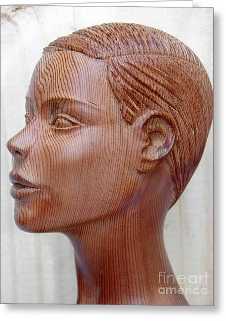 Art Sale Sculptures Greeting Cards - Female Head Bust - Side View Greeting Card by Carlos Baez Barrueto