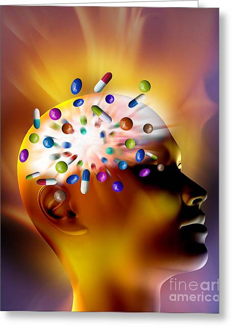 Overdose Greeting Cards - Female Head With Pills Greeting Card by Mike Agliolo