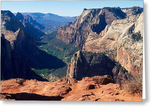 Hiker Greeting Cards - Female Hiker Standing Near A Canyon Greeting Card by Panoramic Images