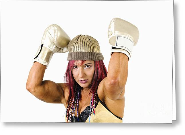 Kickboxers Greeting Cards - Female Kick Boxer 1 Greeting Card by Ilan Rosen