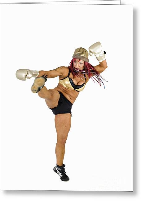 Kickboxers Greeting Cards - Female Kick Boxer 2 Greeting Card by Ilan Rosen